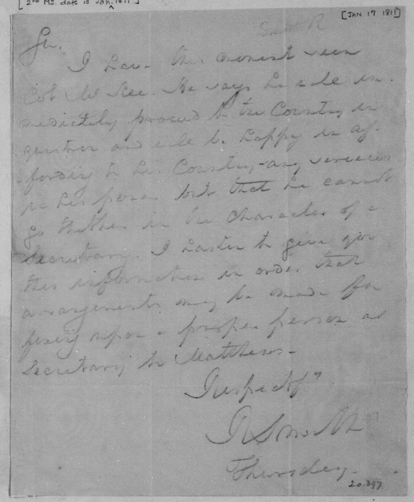 Robert Smith to James Madison, January 17, 1811.