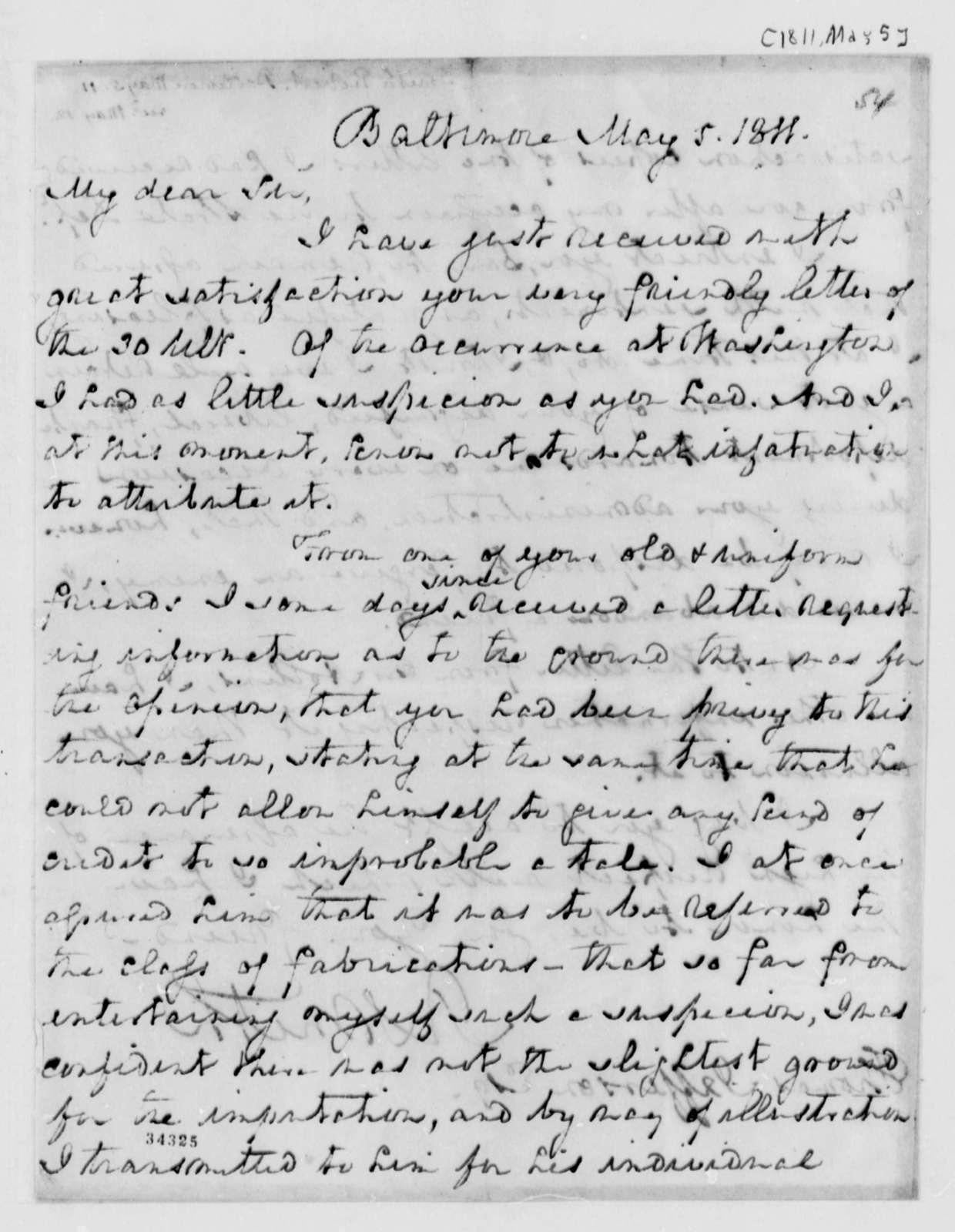 Robert Smith to Thomas Jefferson, May 5, 1811
