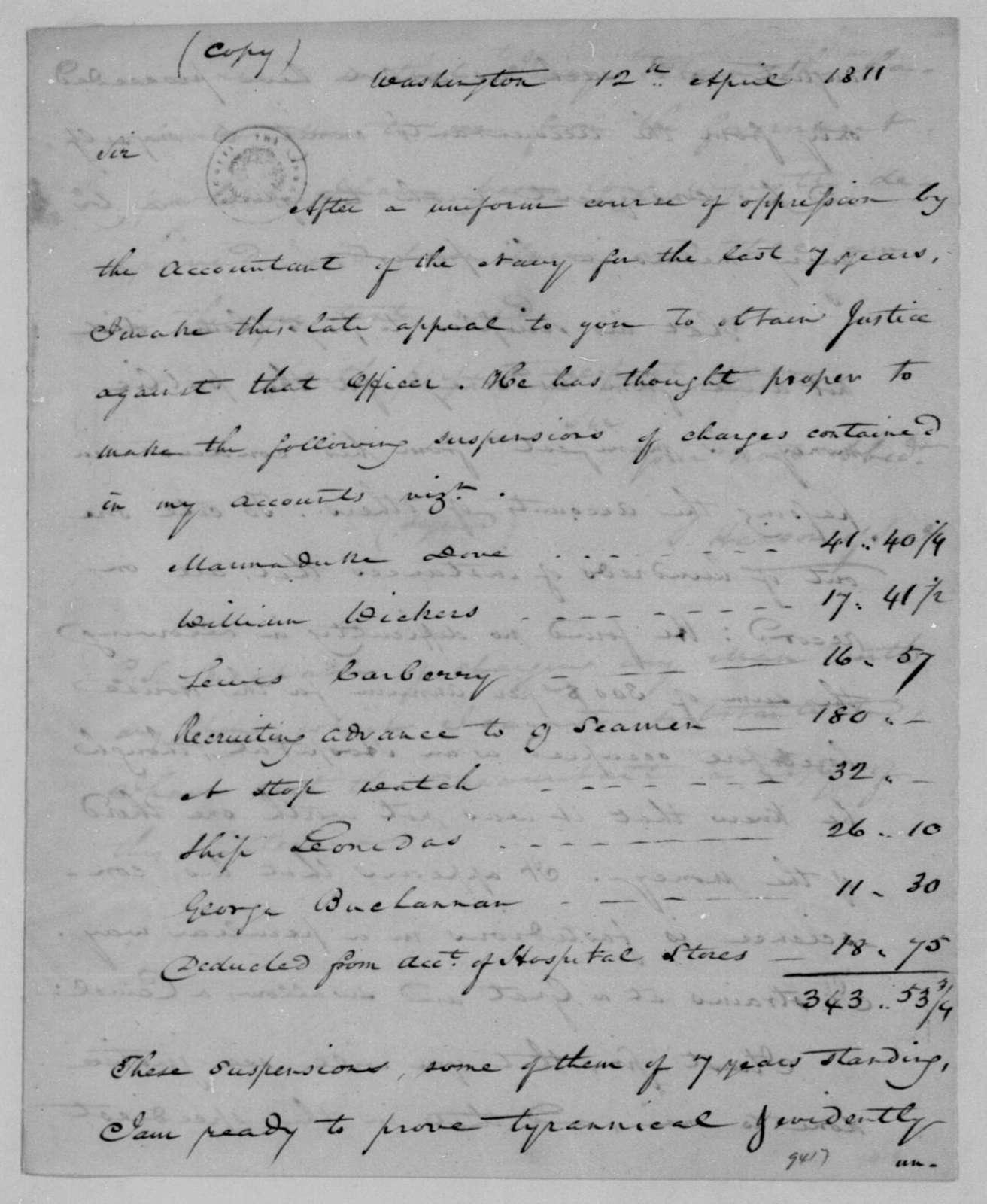 Samuel Hanson of Samuel to Gabriel Duvall, April 12, 1811.