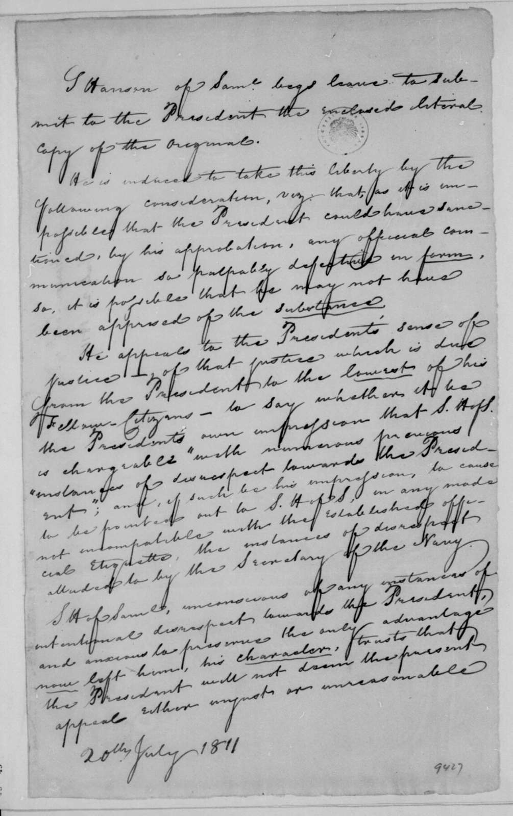 Samuel Hanson of Samuel to James Madison, July 20, 1811.