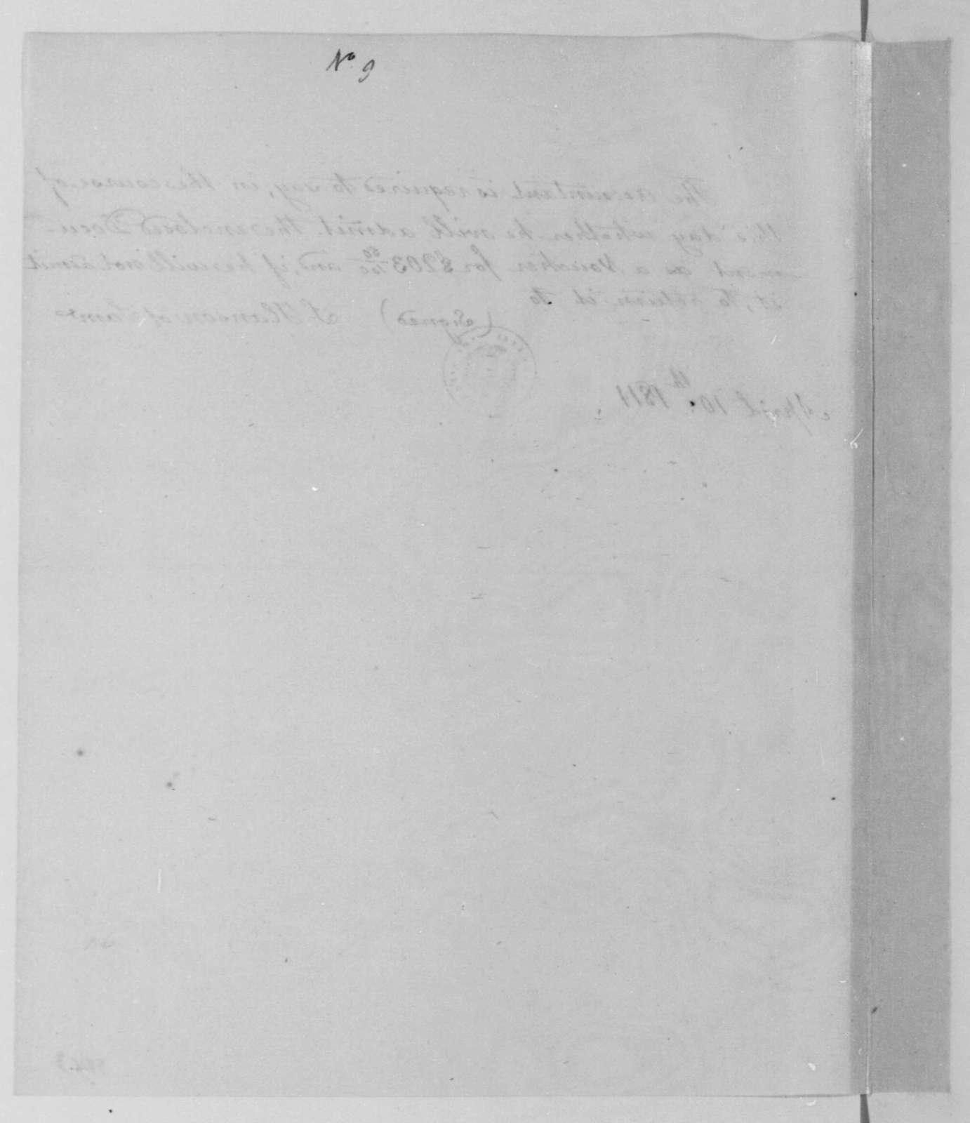 Samuel Hanson of Samuel to Thomas Turner, April 10, 1811. Instructions.