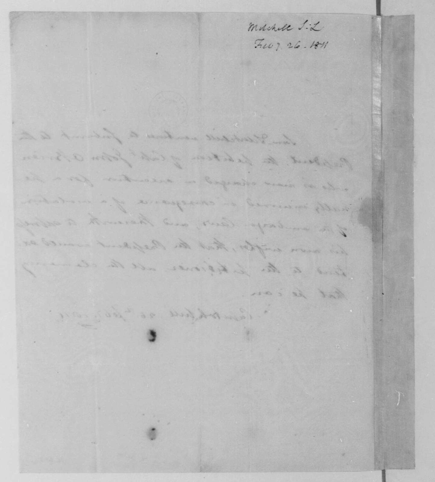 Samuel L. Mitchill to James Madison, February 26, 1811.