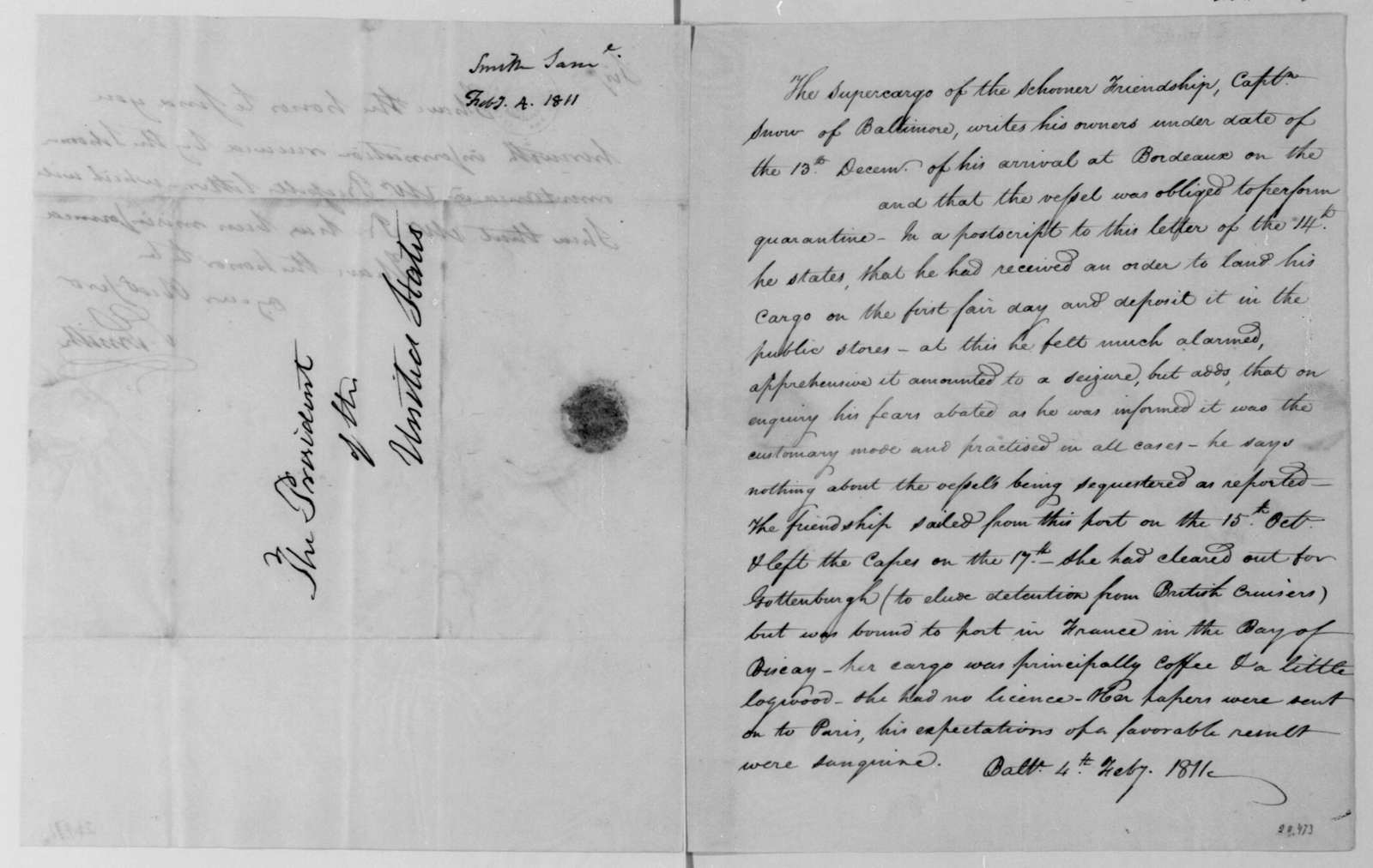 Samuel Smith to James Madison, February 4, 1811. With Note on schooner Friendship.