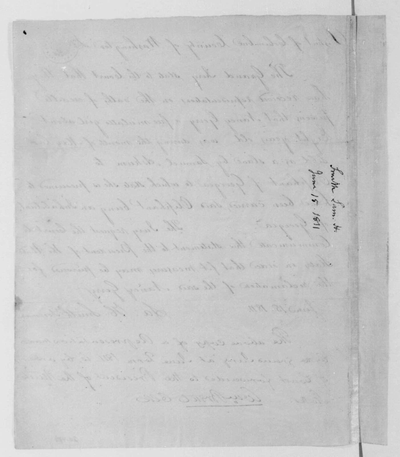Samuel Smith to Washington D. C. Criminal Court, June 15, 1811. Representation.