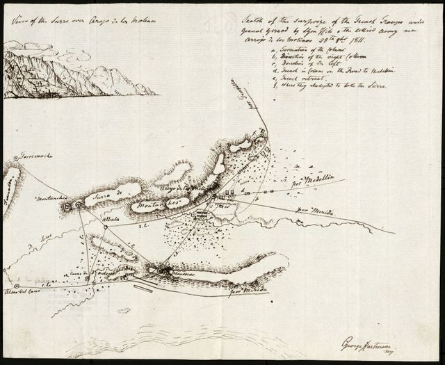 Sketch of the surprise of the French troups under General Girard by Lt. Gen. Hill of the allied army near Arrojo de los Molinos, 28th Obr. 1811 /