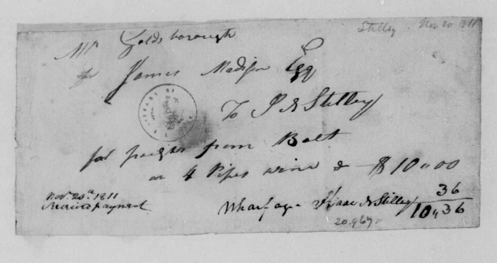 Stilley to James Madison, November 20, 1811. Receipted Bill.