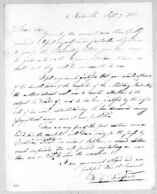 Thomas G. Bradford to Andrew Jackson, September 7, 1811