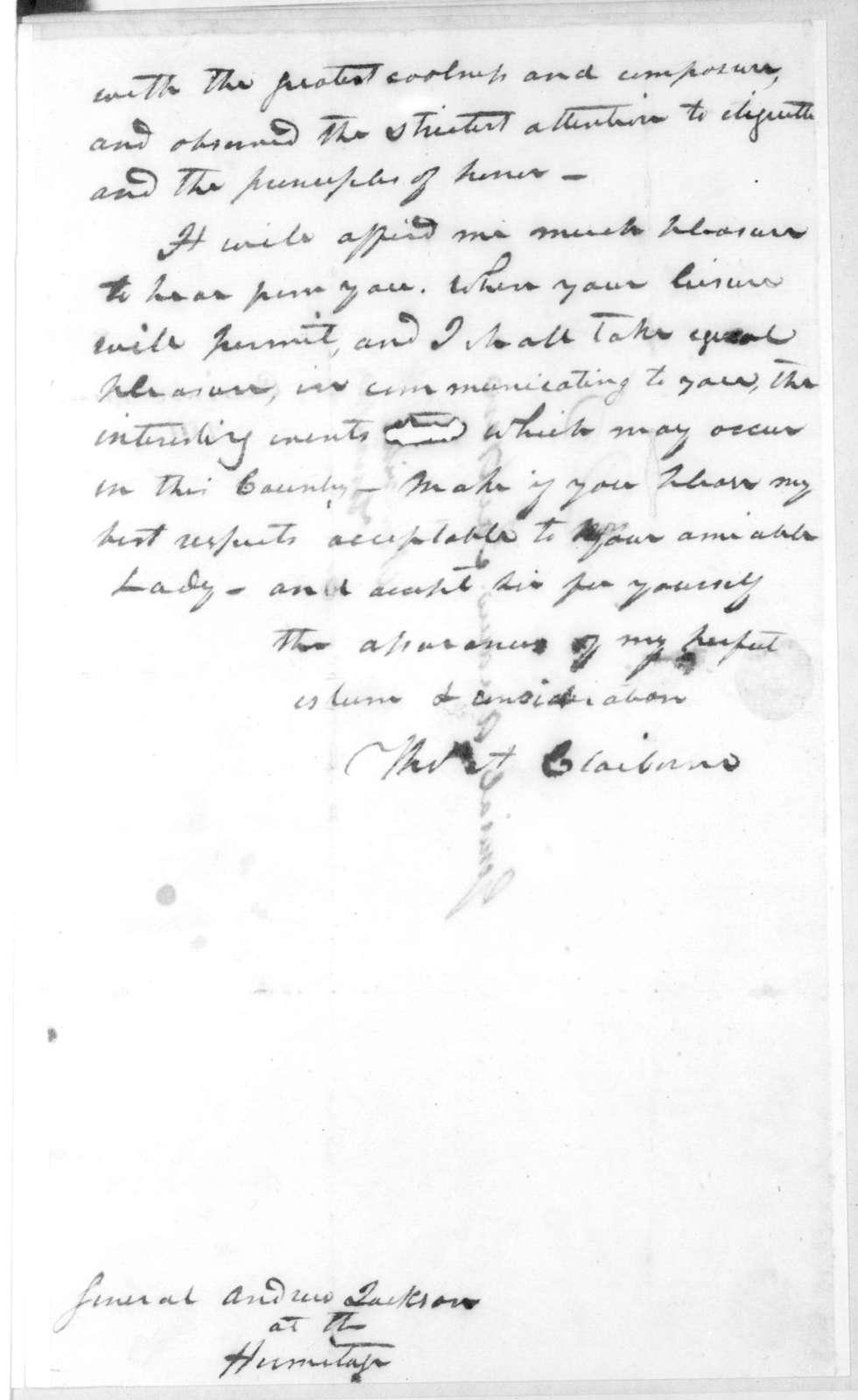 Thomas H. Claiborne to Andrew Jackson, November 20, 1811