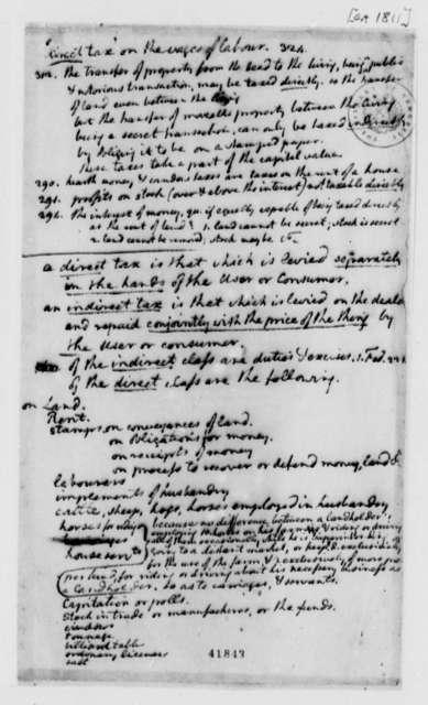 Thomas Jefferson, 1811, Notes on Taxes