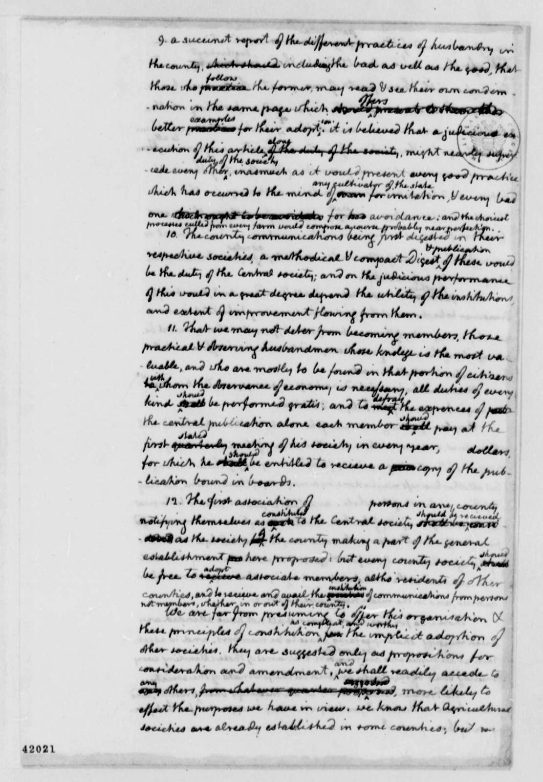 Thomas Jefferson, February 1, 1811, Draft of Agricultural Society Constitution, Albemarle County, Virginia