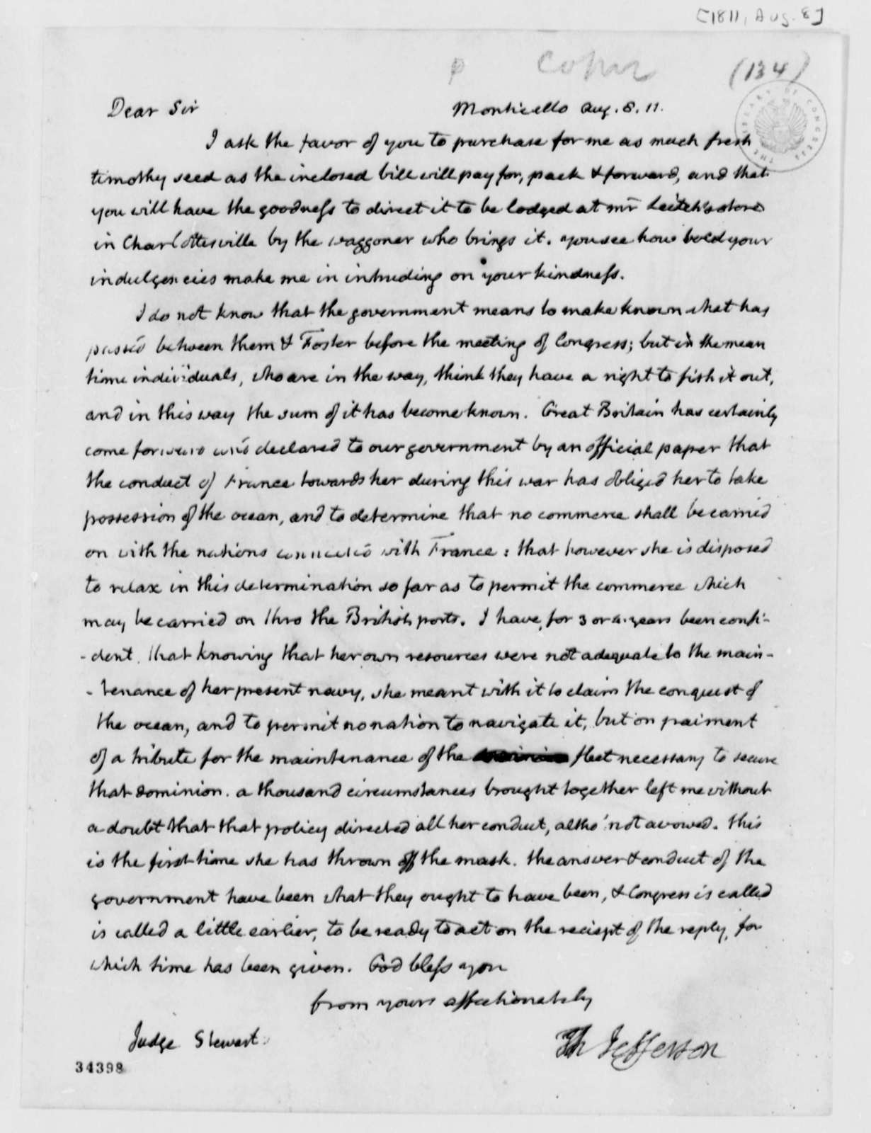 Thomas Jefferson to Archibald Stuart, August 8, 1811