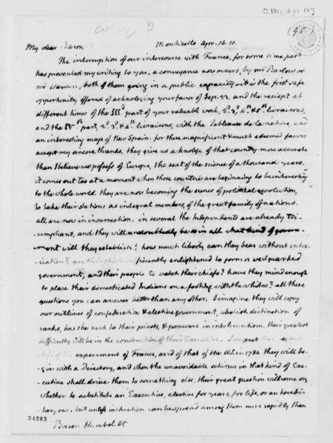 Thomas Jefferson to Baron von Humboldt, April 14, 1811