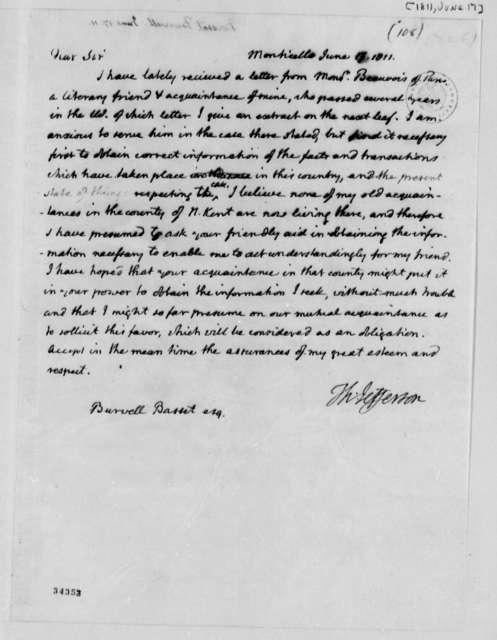 Thomas Jefferson to Burwell Bassett, June 17, 1811