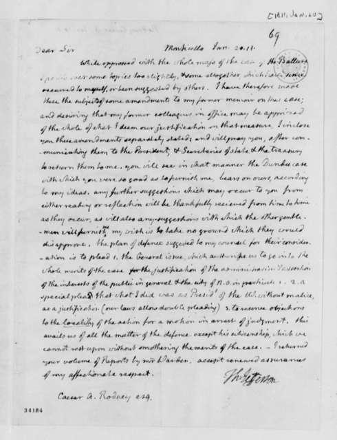 Thomas Jefferson to Caesar A. Rodney, January 20, 1811