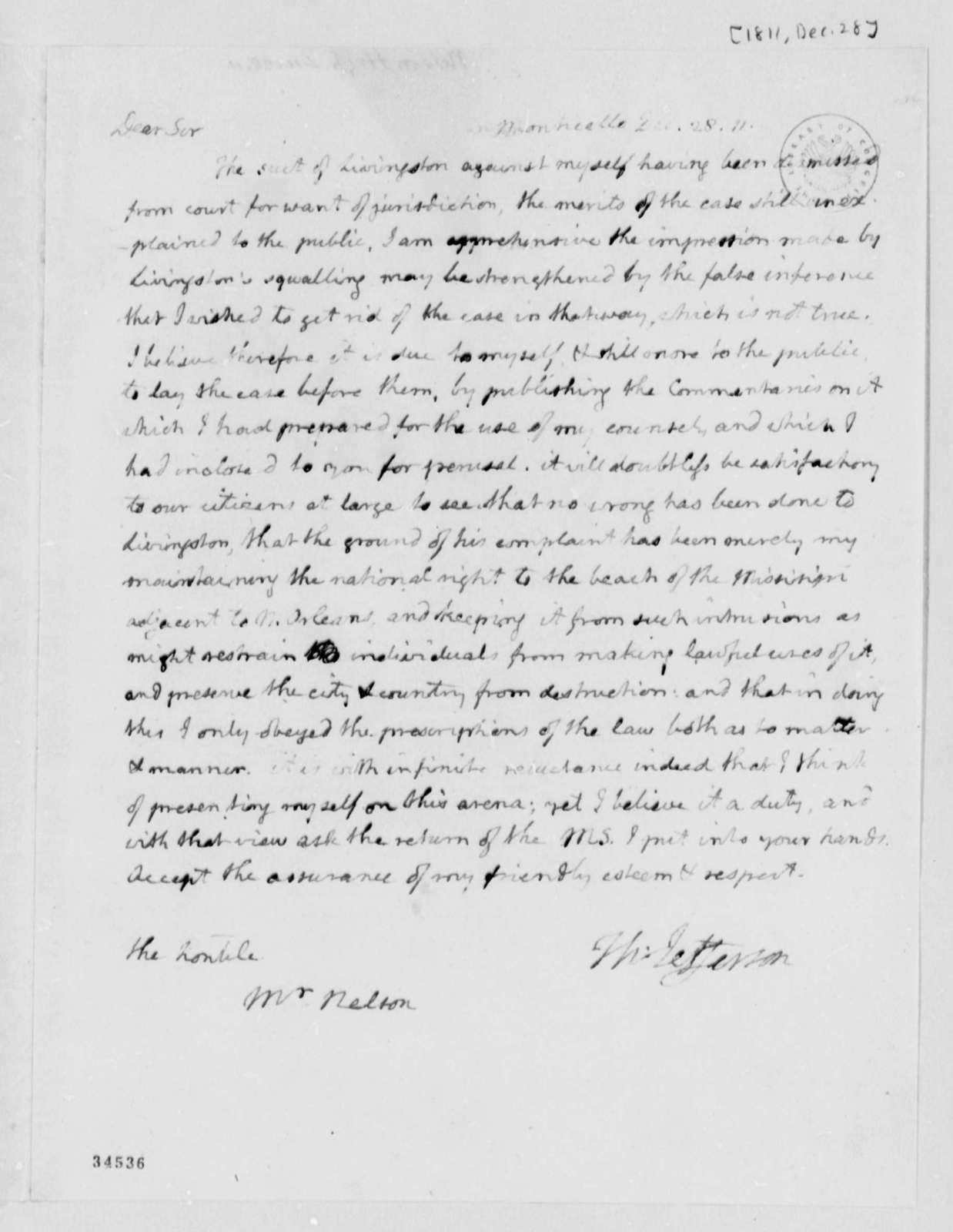 Thomas Jefferson to Hugh Neslon, December 28, 1811