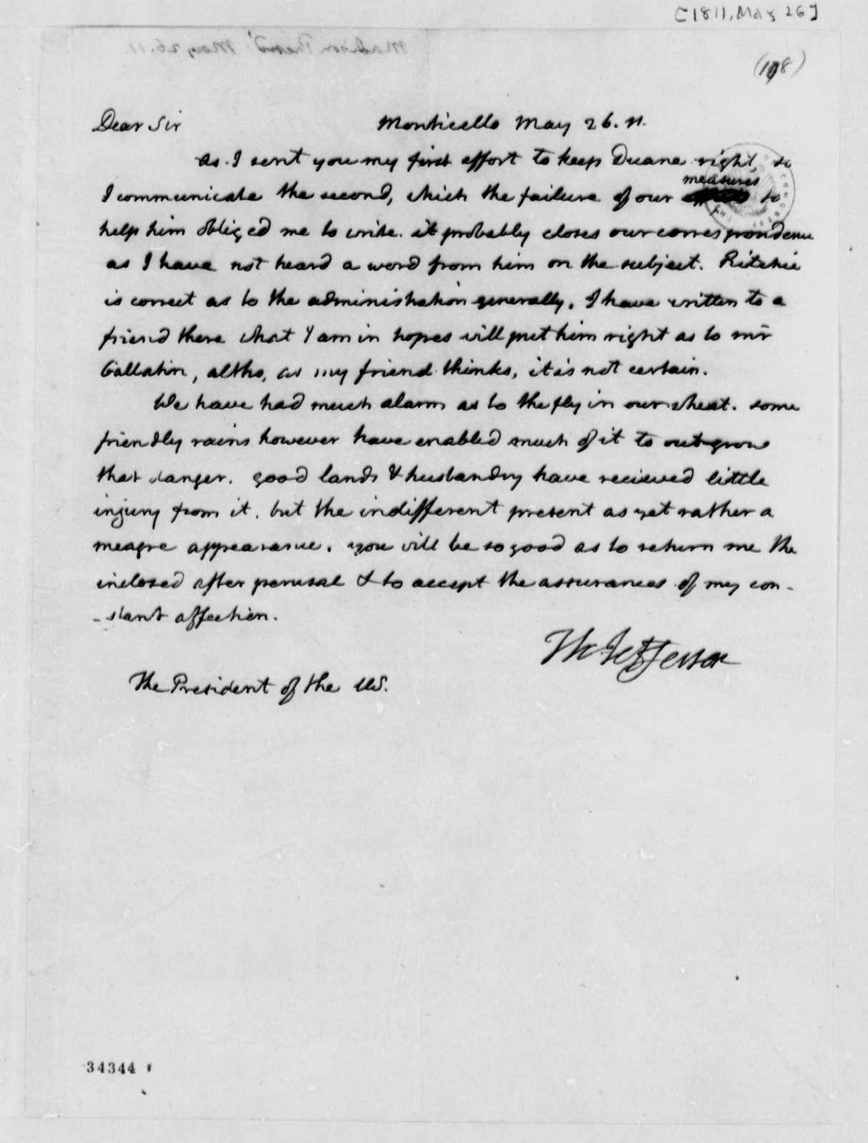 Thomas Jefferson to James Madison, May 26, 1811