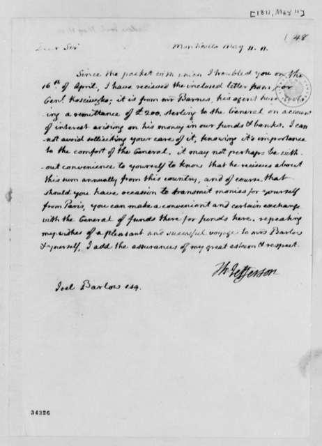 Thomas Jefferson to Joel Barlow, May 11, 1811