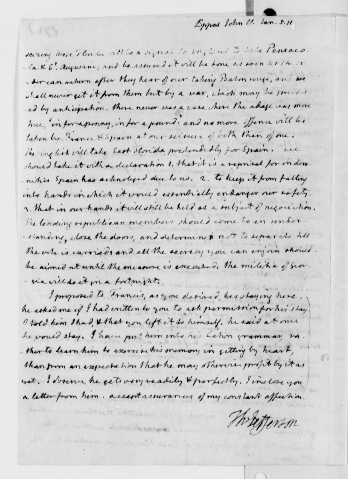 Thomas Jefferson to John Wayles Eppes, January 5, 1811