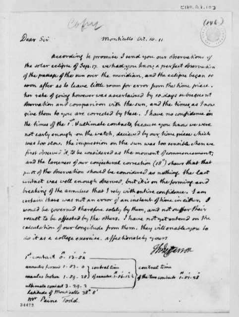 Thomas Jefferson to Payne Todd, October 10, 1811