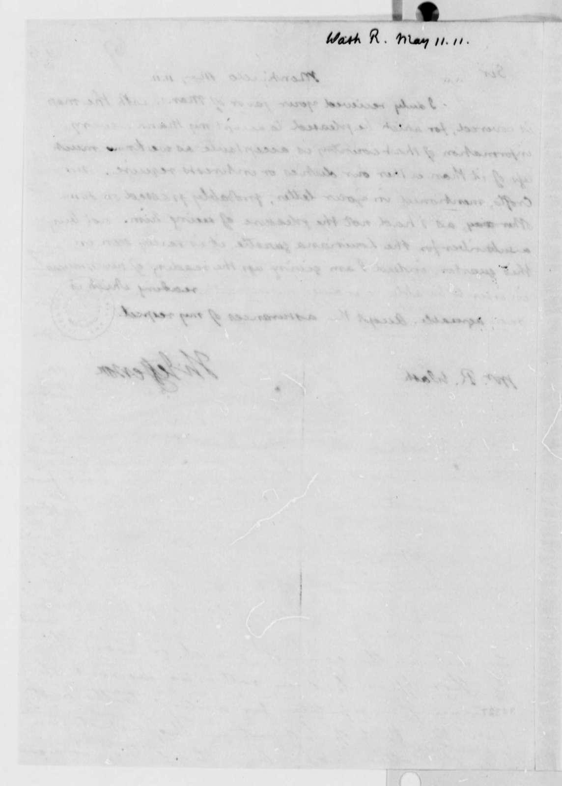 Thomas Jefferson to Robart Wash, May 11, 1811