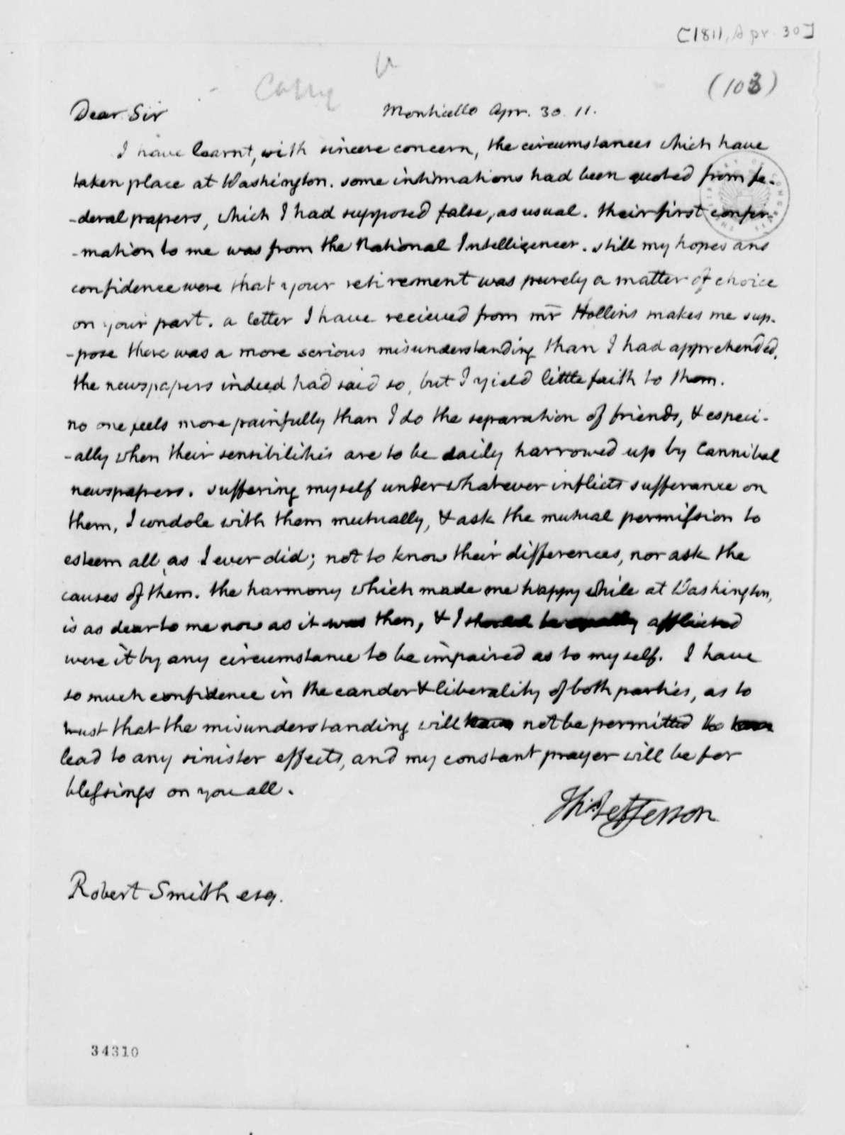 Thomas Jefferson to Robert Smith, April 30, 1811