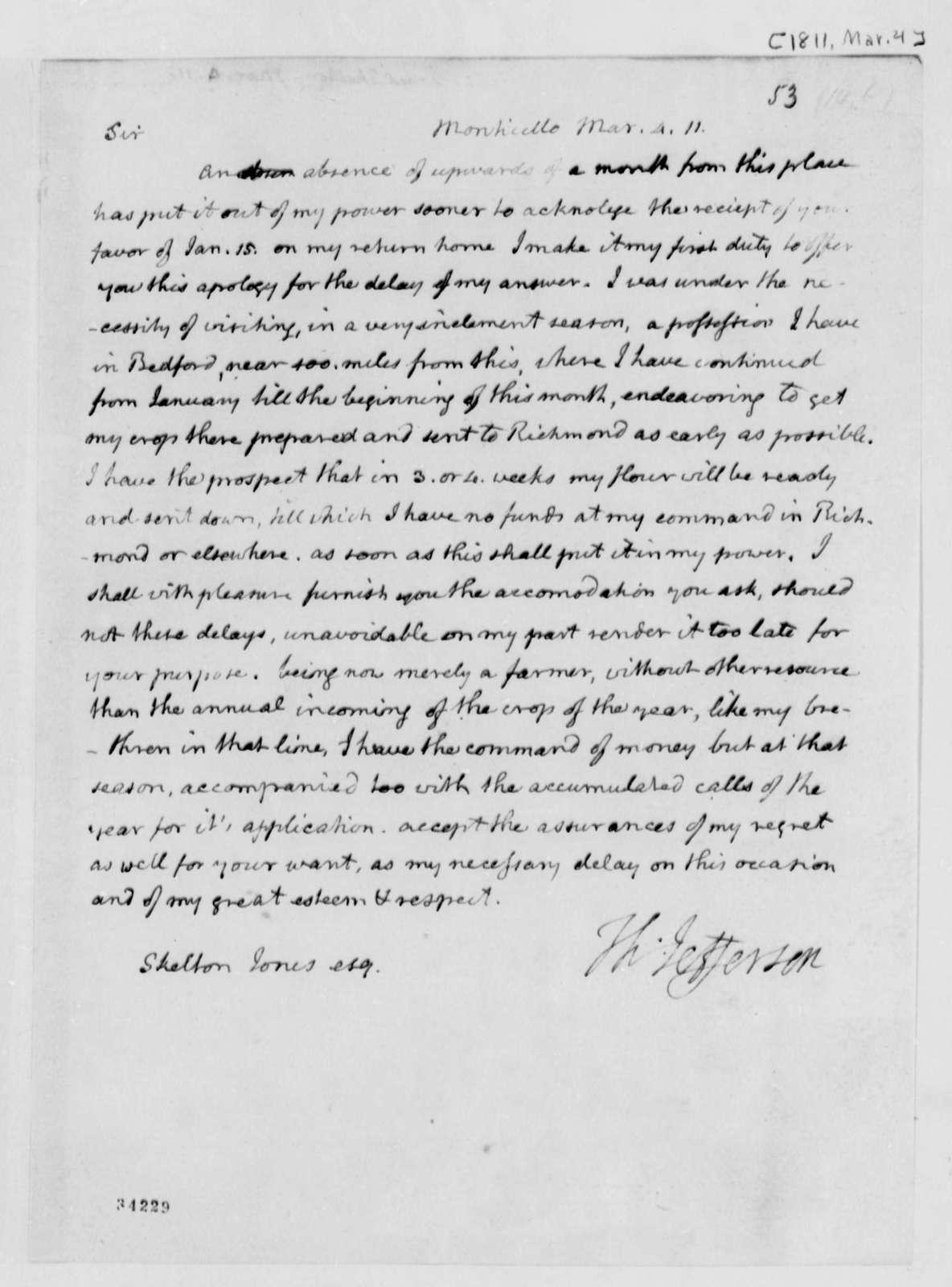 Thomas Jefferson to Skelton Jones, March 4, 1811