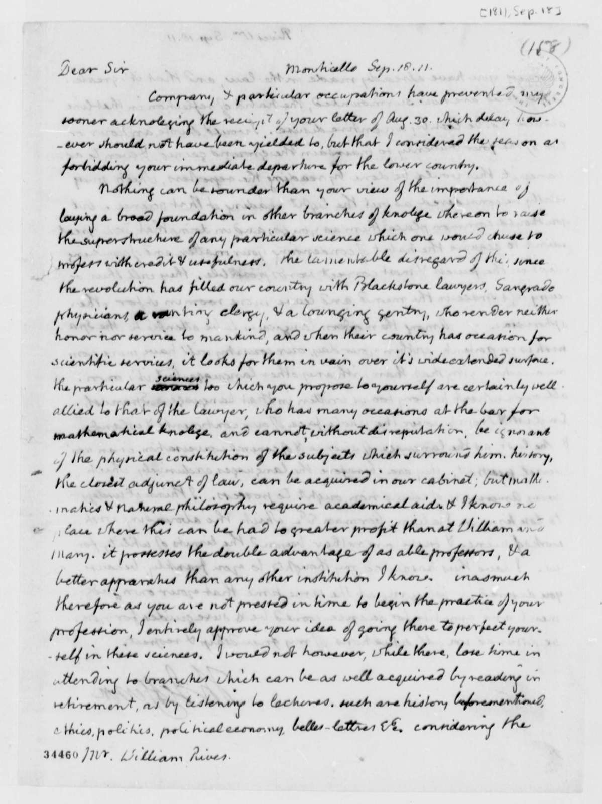 Thomas Jefferson to William Cabell Rives, September 18, 1811