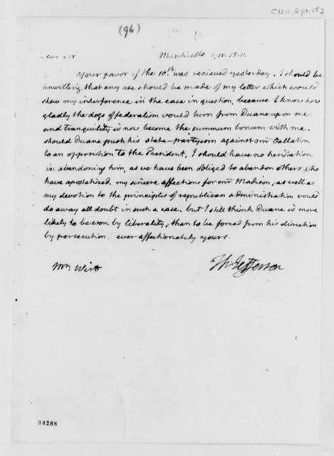 Thomas Jefferson to William Wirt, April 15, 1811