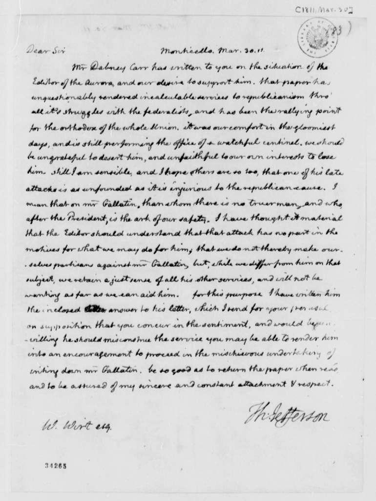 Thomas Jefferson to William Wirt, March 30, 1811