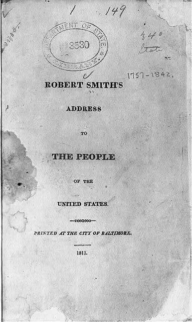 Title page of Robert Smith, Address to the people of the United States (Baltimore, 1811)