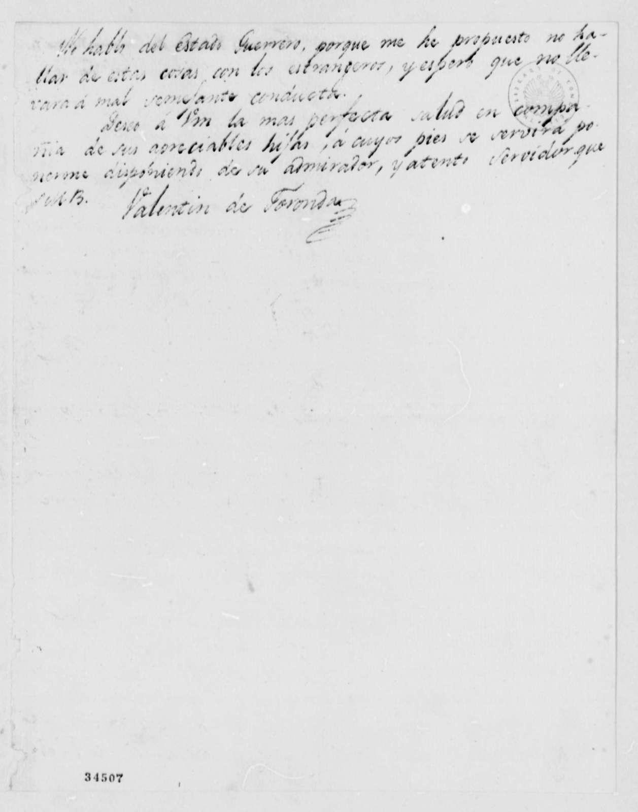 Valentin de Foronda to Thomas Jefferson, November 30, 1811, in Spanish