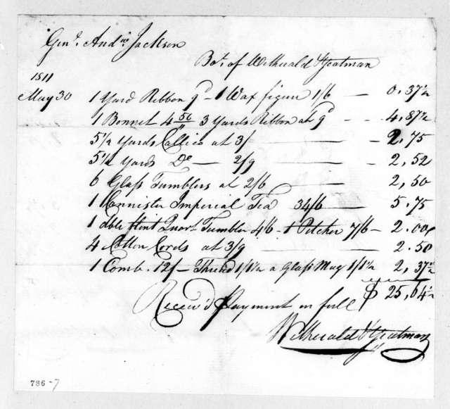 Wetherald & Yeatman to Andrew Jackson, May 30, 1811
