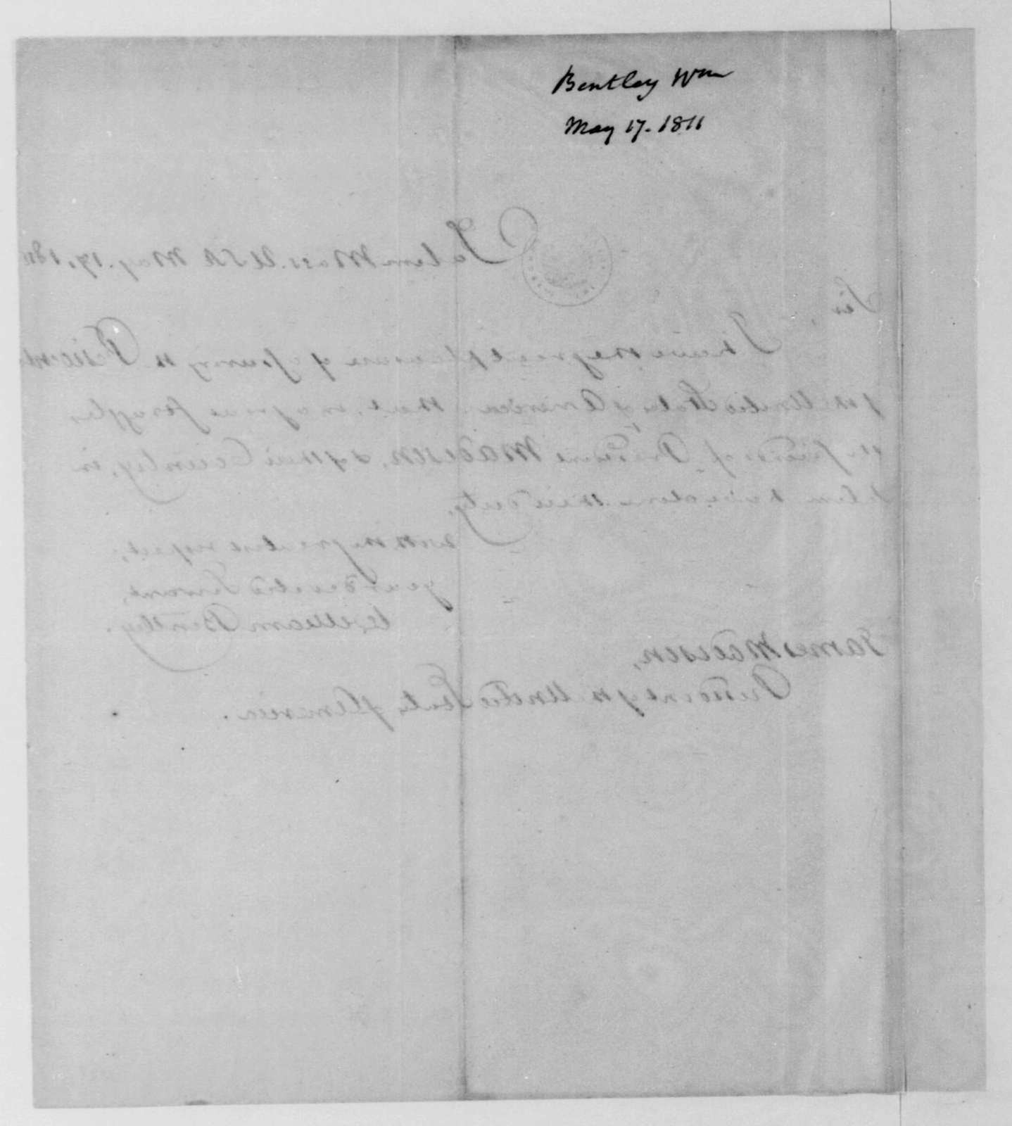 William Bentley to James Madison, May 17, 1811.