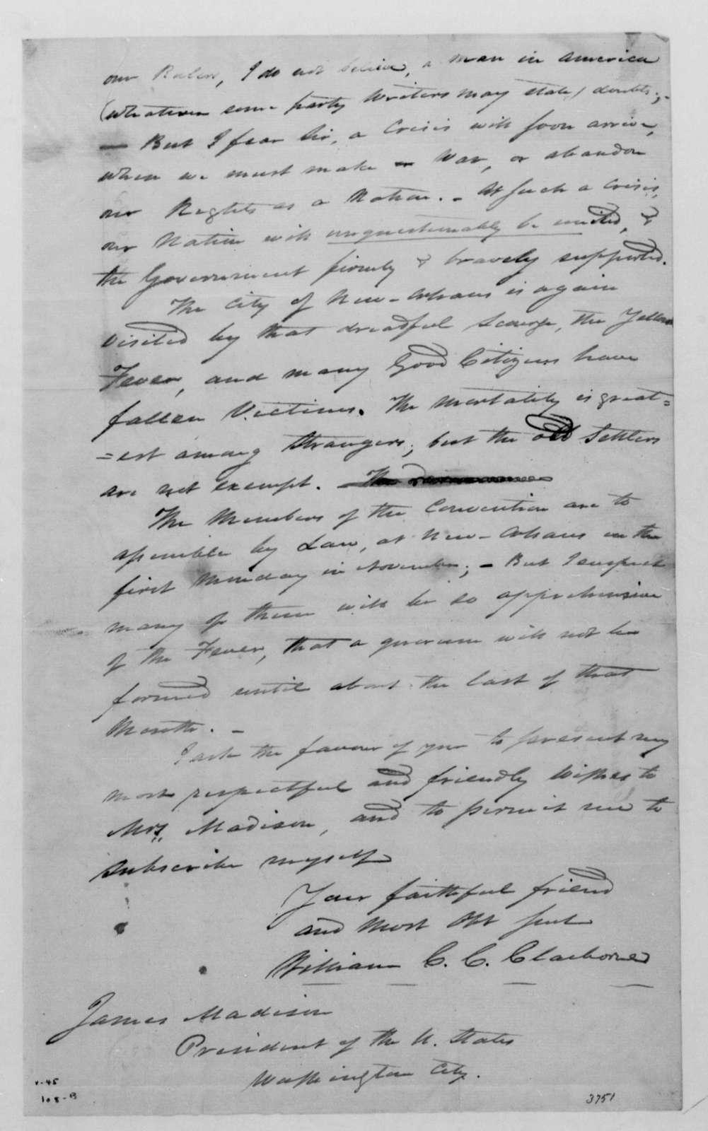 William C. C. Claiborne to James Madison, October 8, 1811.