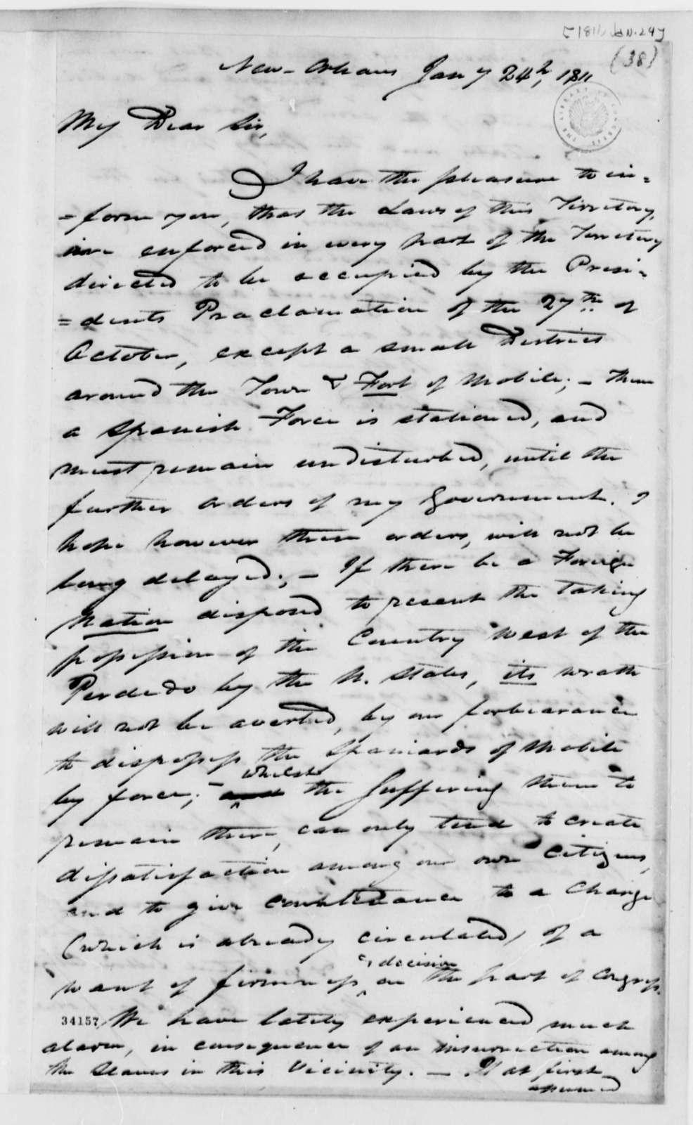 William C. C. Claiborne to Thomas Jefferson, January 24, 1811