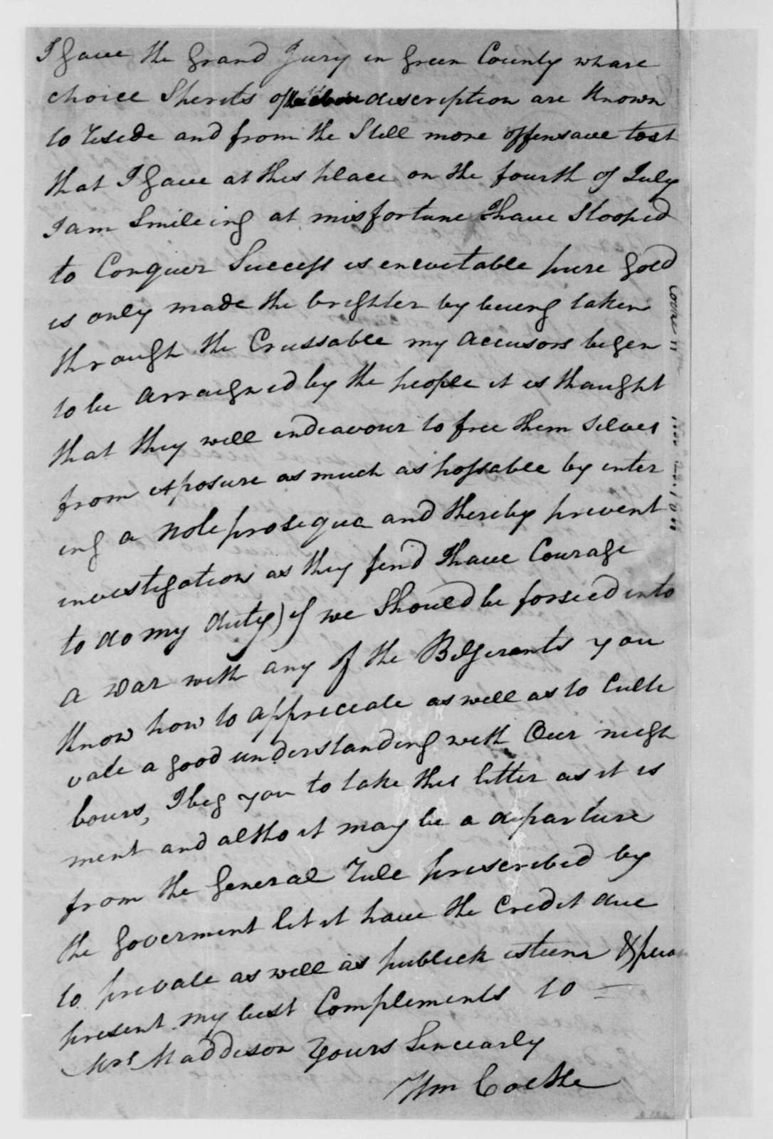 William Cocke to James Madison, November 28, 1811.