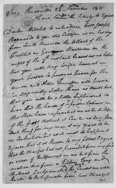 William Cocke to James Madison, November 28, 1811.