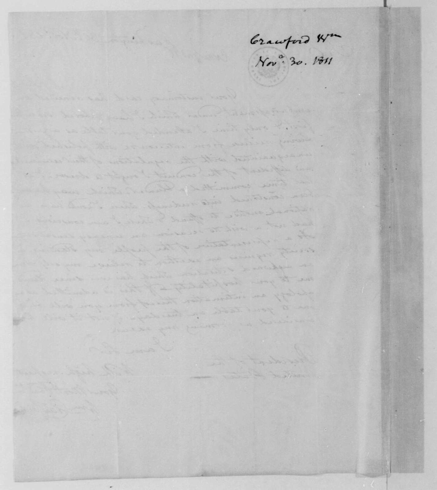 William Crawford to James Madison, November 30, 1811.
