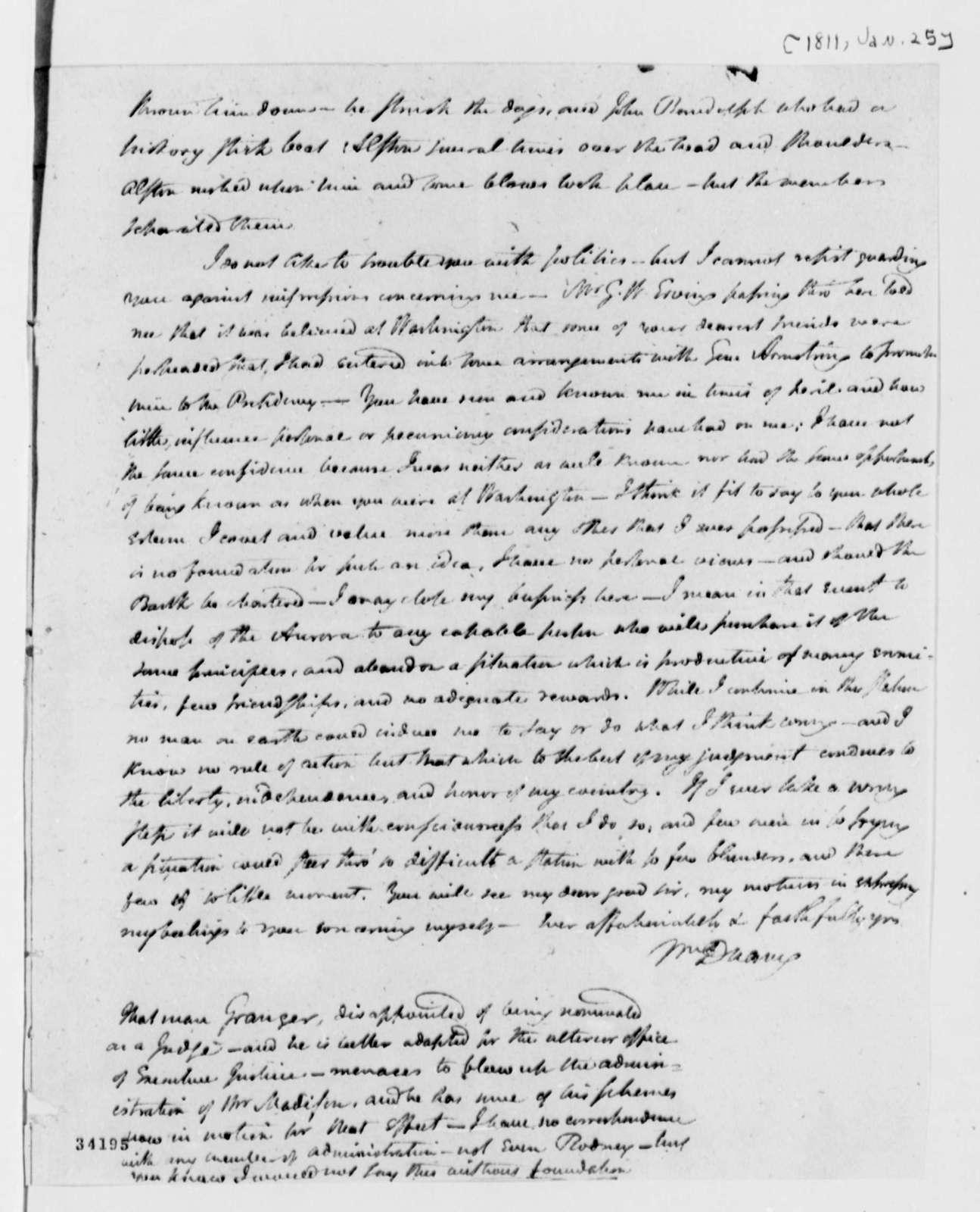 William Duane to Thomas Jefferson, January 25, 1811