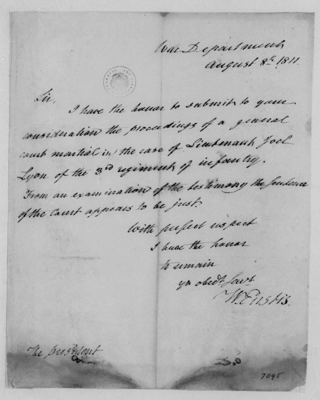 William Eustis to James Madison, August 8, 1811.