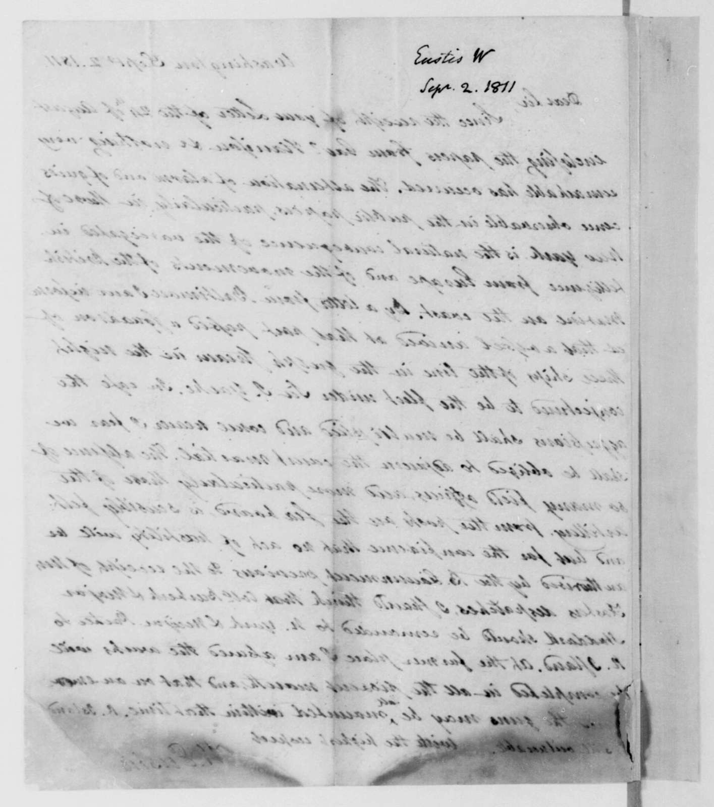 William Eustis to James Madison, September 2, 1811.