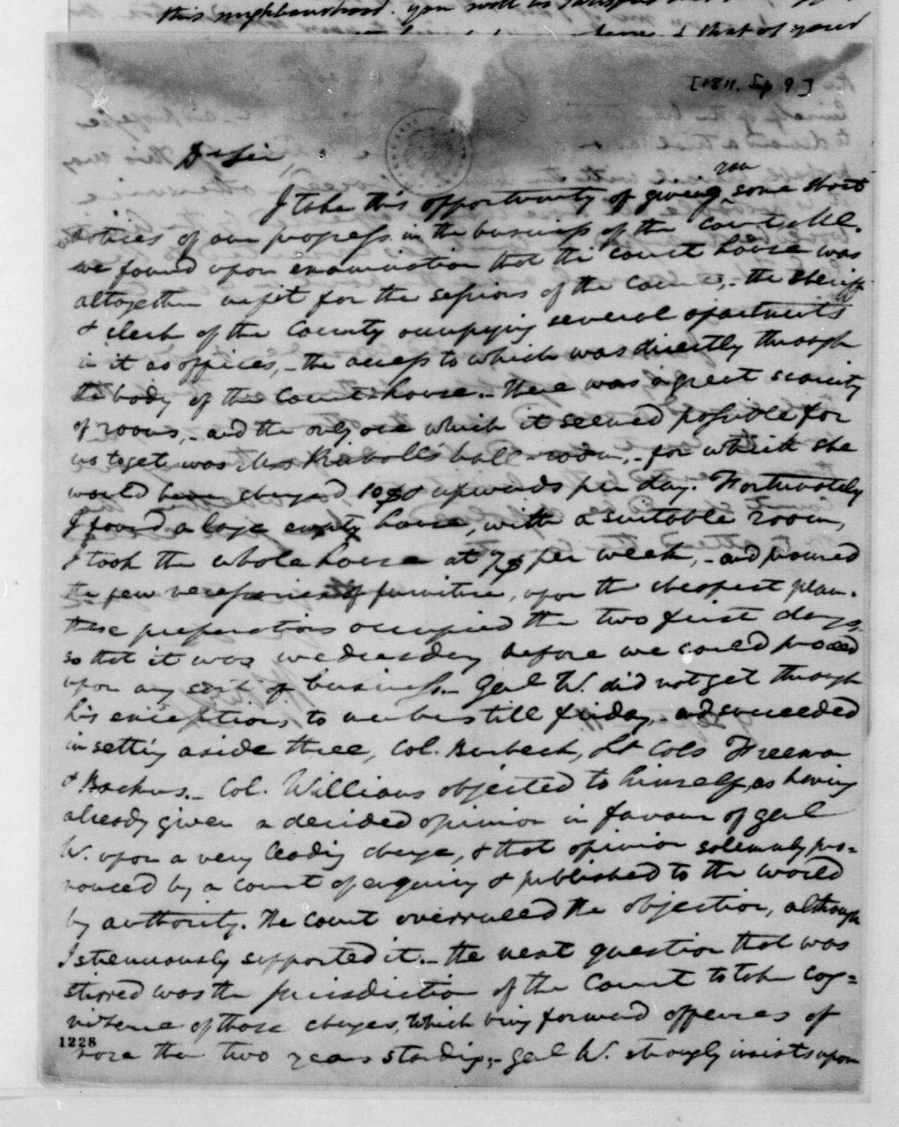 William Jones to William Eustis, September 9, 1811.