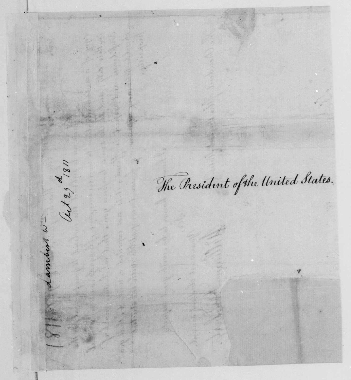 William Lambert to James Madison, October 29, 1811.