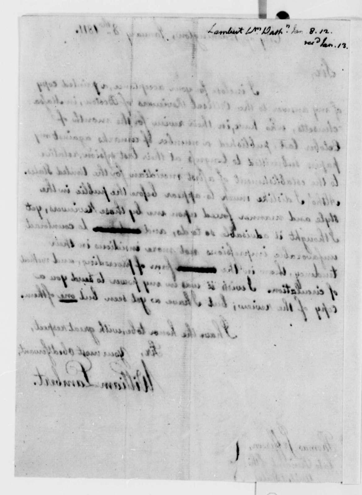 William Lambert to Thomas Jefferson, January 8, 1811