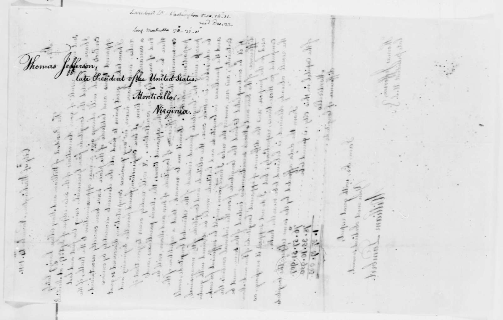 William Lambert to Thomas Jefferson, November 14, 1811, with Abstract