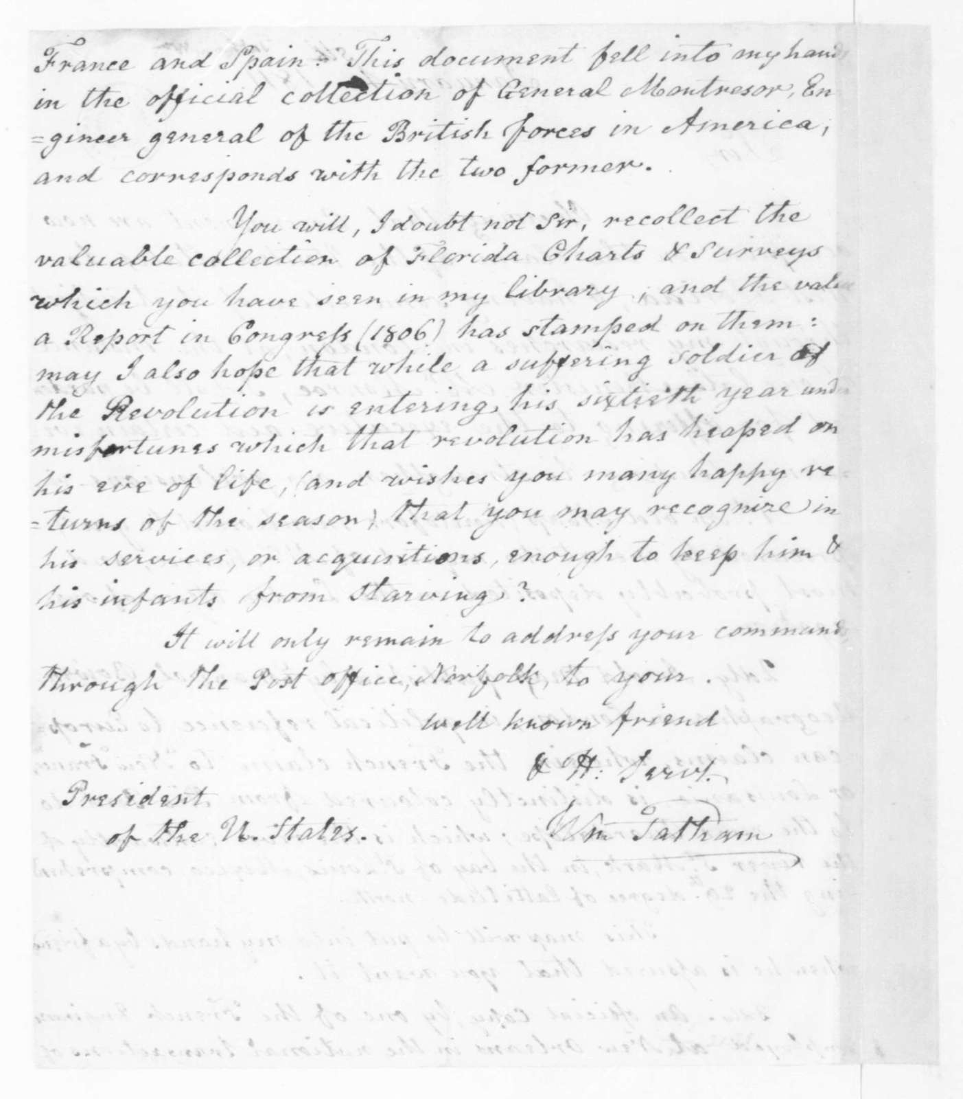 William Tatham to James Madison, January 1, 1811. With Copy.