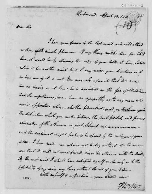 William Wirt to Thomas Jefferson, April 10, 1811