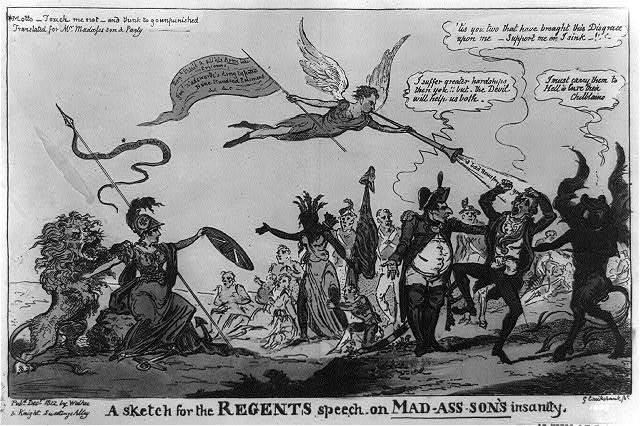 A sketch for the regents speech on Mad-ass-son's insanity / G. Cruikshank fet.