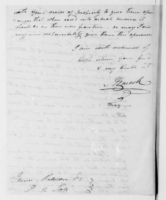 Abner Lacock to James Madison, May 18, 1812.