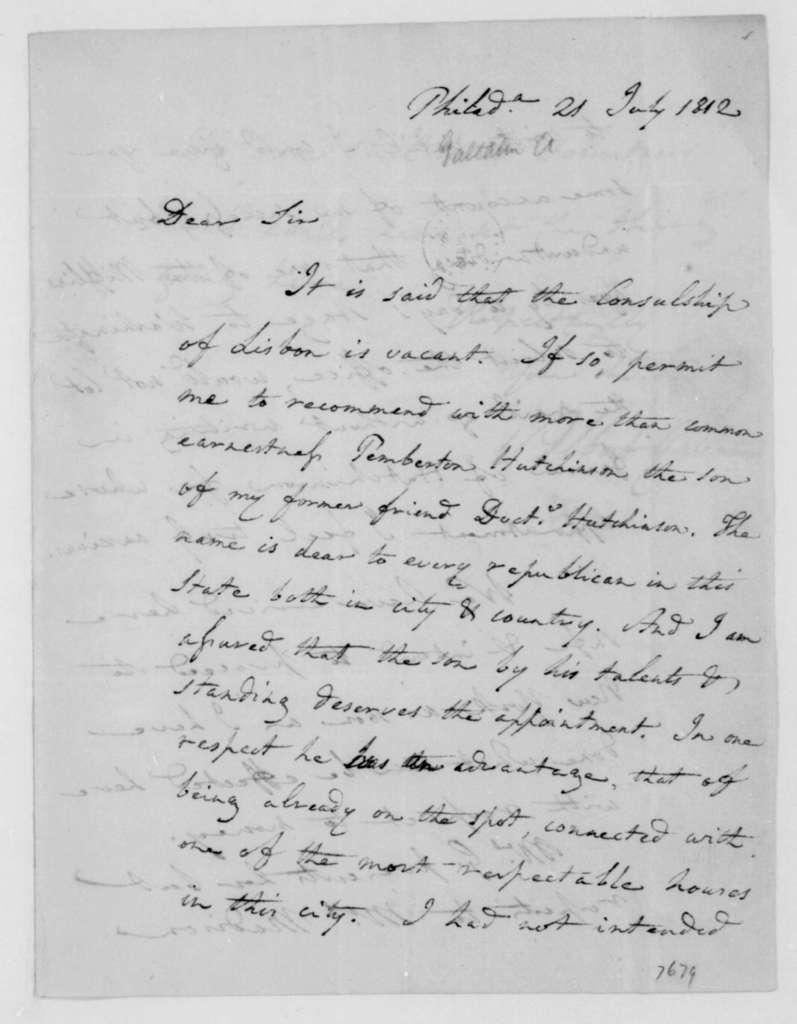 Albert Gallatin to James Madison, July 21, 1812.